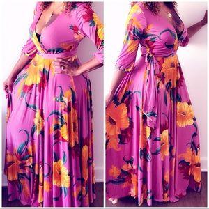 Dresses & Skirts - New Floral Mauve/Pink Belted Maxi Dress